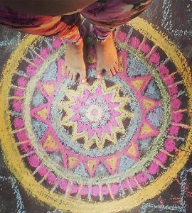Drawing Malas in Chalk while studying the Chakras