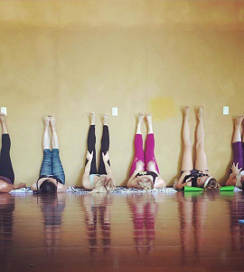 Students Learning and Studying Yoga Asana: Legs Up The Wall